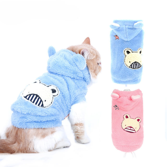Bear Print Fleece Hoodie for Cats