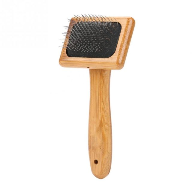 Bamboo Handle Pet Grooming Square Brush