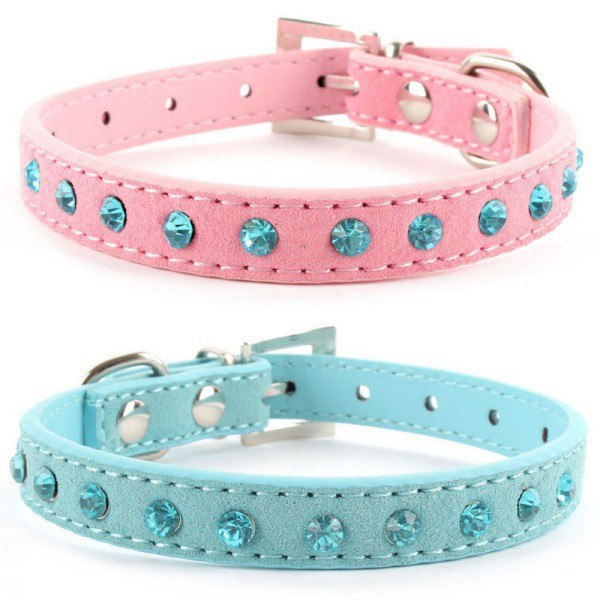 Cute Jeweled Leather Dog's Collar