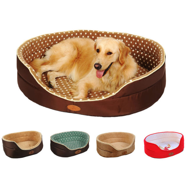 Dog's Soft Plush Bed with Polka Dot Pattern