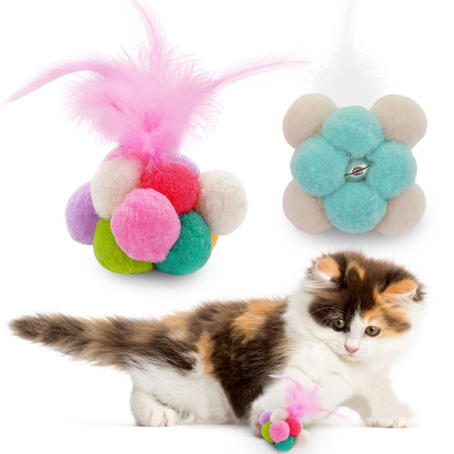 Cat's Catnip Ball Toy with Feather