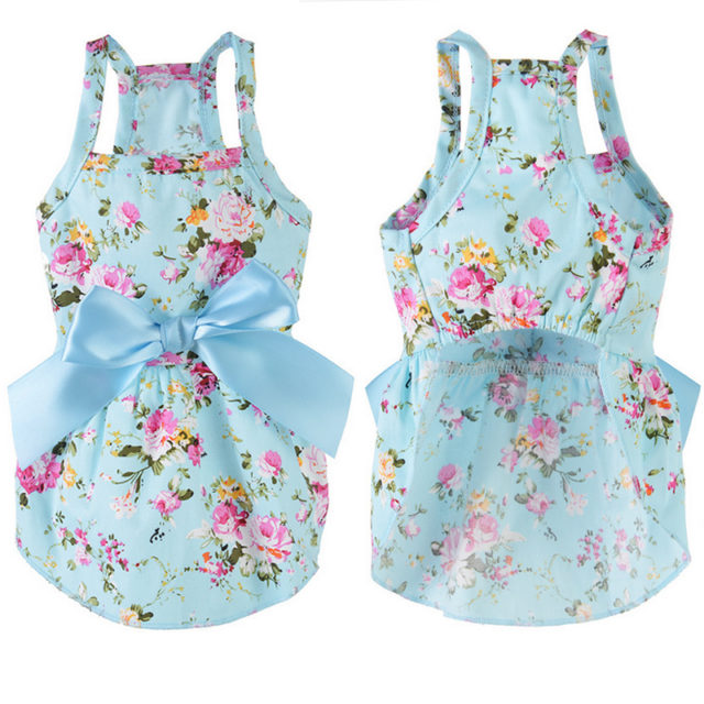Multicolor Cotton Floral Patterned Dress for Dogs