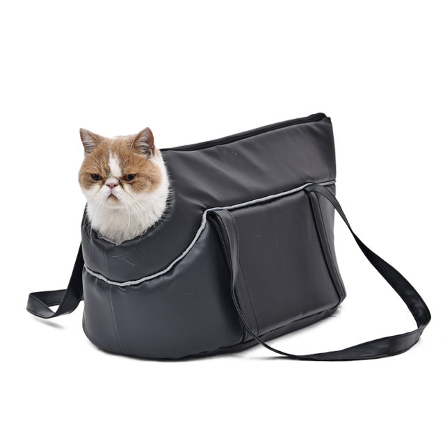 Black Leather Pet Carrier for Cats
