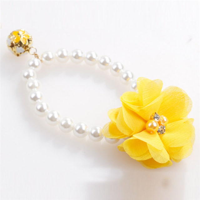 Pearl Collar for Cats with Lace Flower and Bell