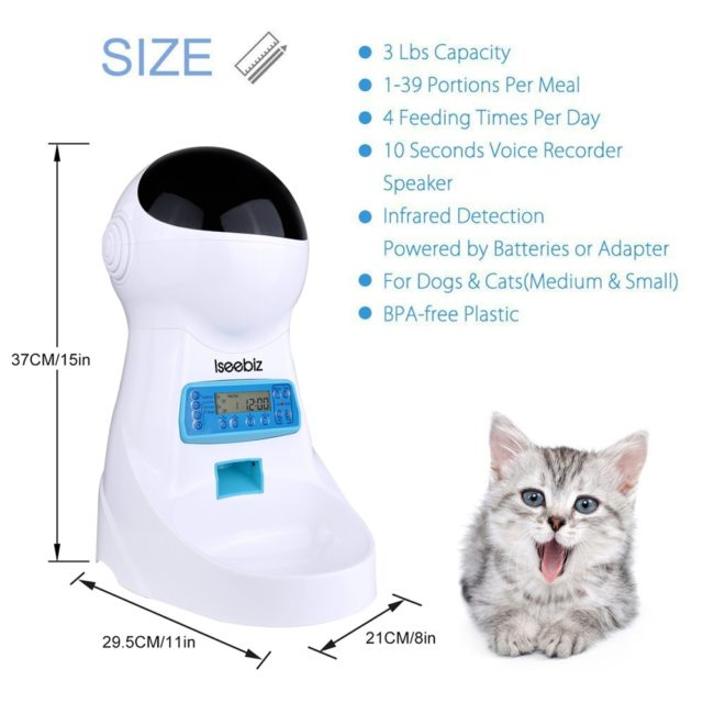 Pet's Automatic White Feeder with Remote Control