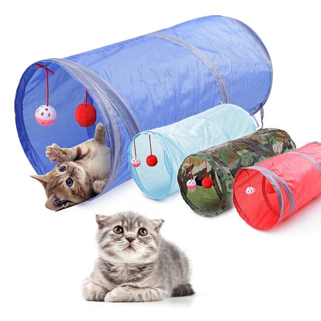 Cat's Foldable Tunnel with Toys