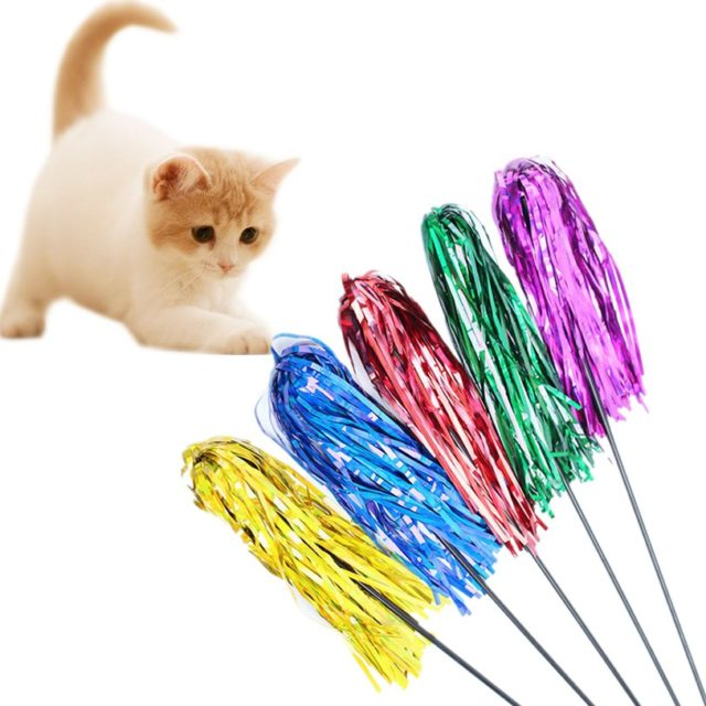 Cat's Colorful Teaser with Reflective Strips